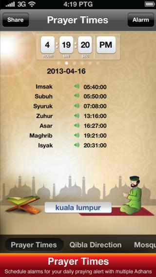 Solat Malaysia 2015 - Islamic Compass Prayer Times Athan Alarm
