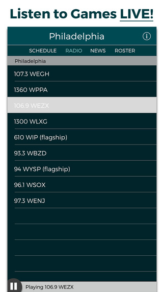 Philadelphia Football Radio Live Scores