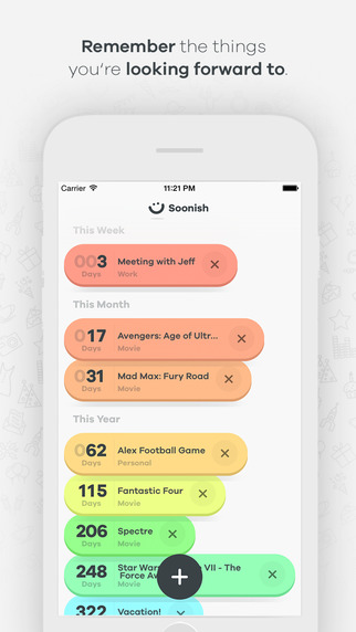 《提醒工具 清新倒数 : Soonish — Makes remembering fun again [iPhone]》