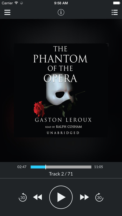The Phantom of the Opera (by Gaston Leroux) (UNABRIDGED AUDIOBOOK) : Blackstone Audio Apps : Folium Edition iPhone Screenshot 1