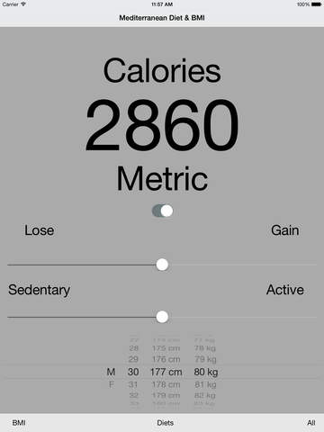 Mediterranean Diet Planner Calorie BMI Calculator