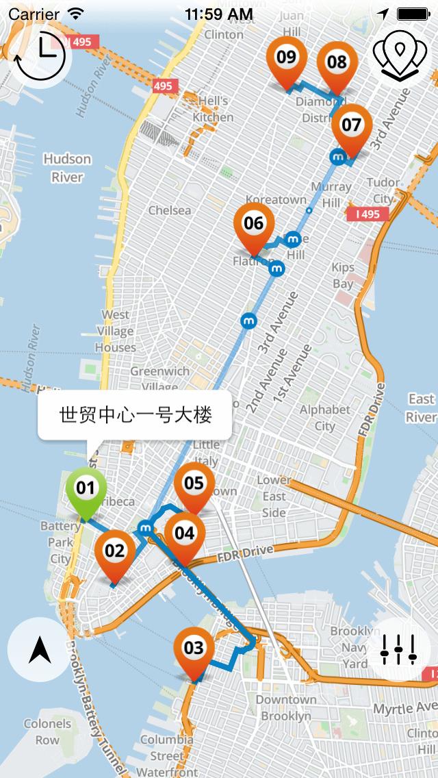 离线地图   地图景点标注   纽约景点速览   wifi热点,旅游服务中心