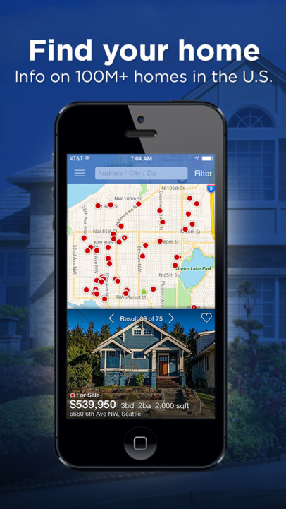 Real Estate by Zillow – Homes & Apartments, For Sale or Rent - iPhone Mobile Analytics and App Store Data