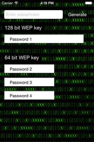 WEP Password Generator screenshot 1