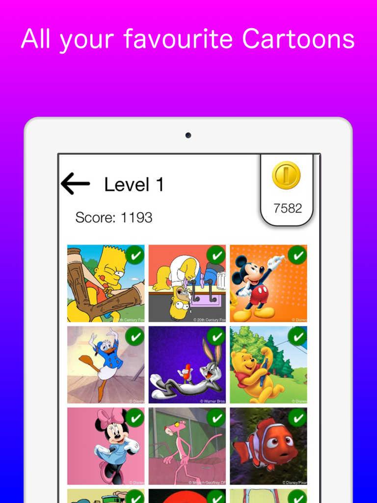 Cartoon Characters App : App shopper name that cartoon character guess the kids