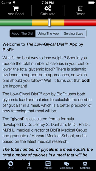 The Low-Glycal Diet Calculator and Tracker by BioFit