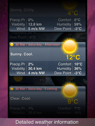 MegaWeather for iPad - Detailed Weather Forecast, Widget and Temperature on the Icon Badge. screenshot 3