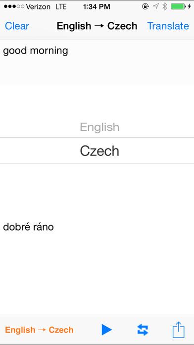 English Czech Translator with Voice iPhone Screenshot 1