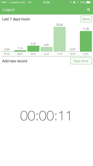Urenregistratie iPhone Screenshot 3