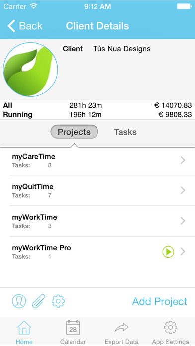 myWorkTime Free - Task, Time and Billing Tracker iPhone Screenshot 2