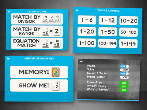 Division Flashcard Match Games for Kids in 2nd, 3rd and 4th Grade Learning Flash Cards Free Screenshots
