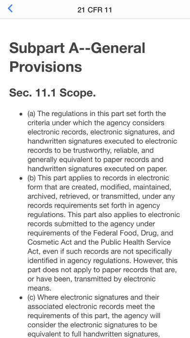 21 CFR 11 Pocket Guide iPhone Screenshot 2