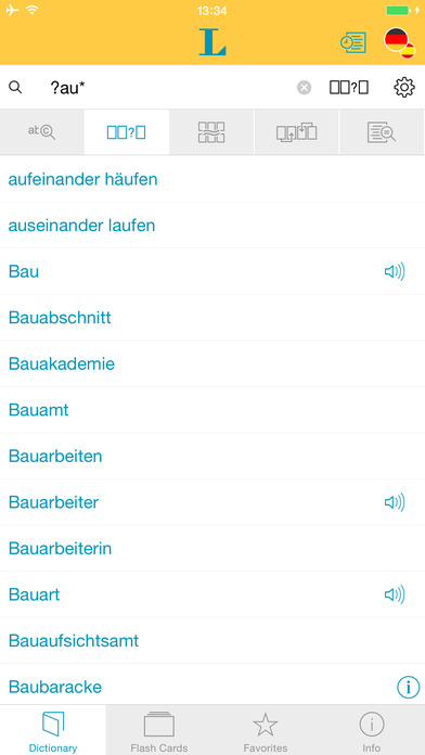 Spanish <-> German Talking Dictionary Langenscheidt Professional iPhone Screenshot 4