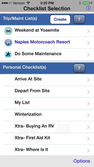RV Checklist iPhone Screenshot 1
