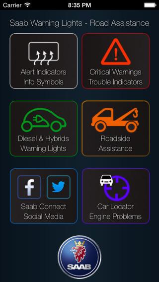 App for Saab - Saab Warning Lights Saab Cars Problems Info + Road Assistance