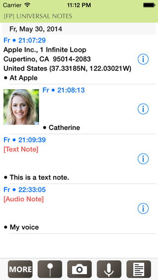 Universal Notes - GPS Photo Audio Text