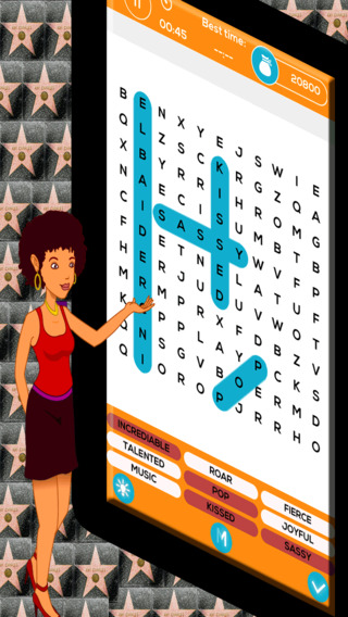 Celebrity Word Search - Top 50 Most Famous Celebrities Free Word Finder Game