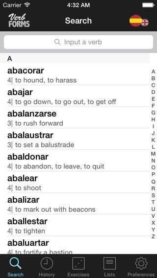 VerbForms Español iPhone Screenshot 2