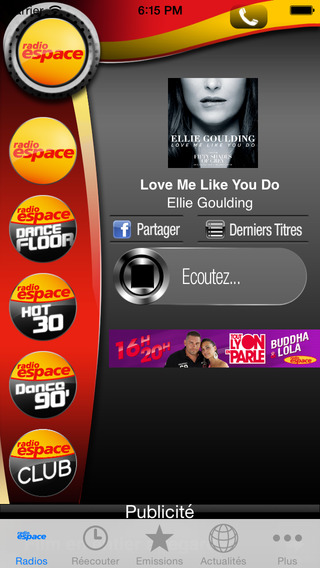 Radio Espace iPhone Screenshot 2