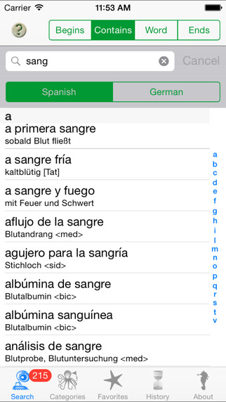 Esmeralda - Spanish German dictionary iPhone Screenshot 2