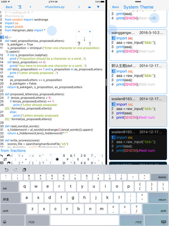 pythoni - run code,autocomplete,outline,color code screenshot
