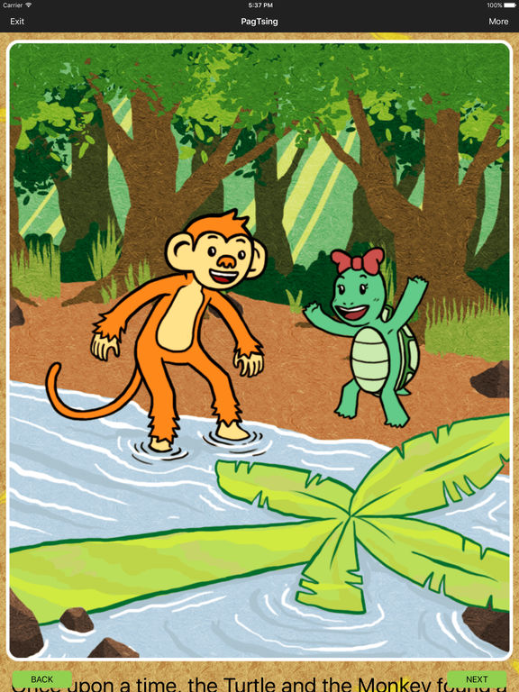 the plot of the monkey and the turtle One morning, a monkey and a turtle who were close friends talked about their situation after a while, the monkey said, let's go to the forest and make a trap for wild pigs the turtle agreed when they came upon a dakit tree, they saw the tracks of wild pigs let's make a trap here said the.