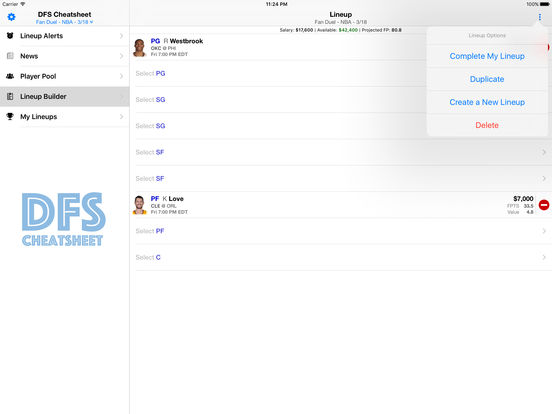 Daily Fantasy Cheatsheet & Lineup Optimizer screenshot