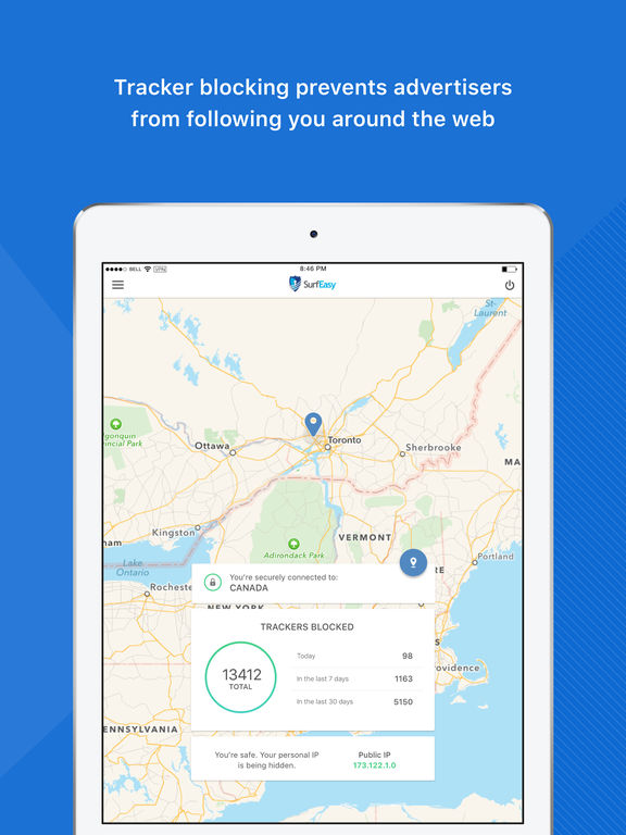 SurfEasy VPN for iPhone and iPad - Unblock sites,  Wi-Fi Security and Privacy Protection screenshot