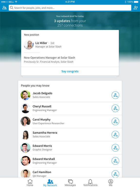 Screenshots of LinkedIn for iPad