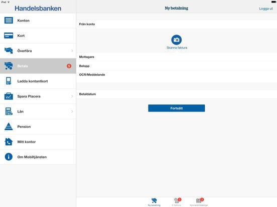Handelsbanken Mobiltjänst iPad Screenshot 3