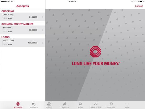 Bank of Arizona Mobile Banking iPad Screenshot 1
