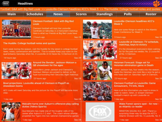 Clemson Tigers College SuperFans iPad Screenshot 2