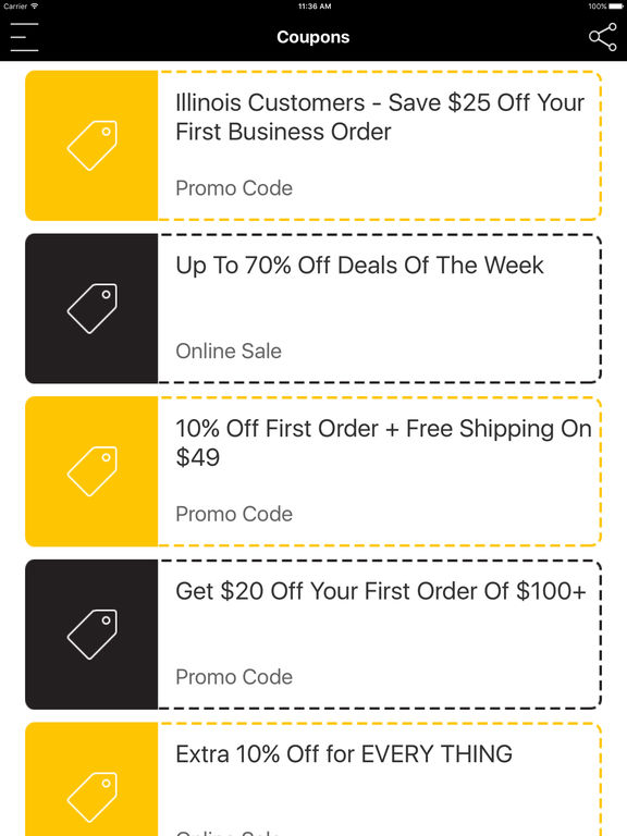 Online shopping discount coupon codes