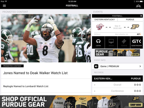 Purdue Sports iPad Screenshot 3