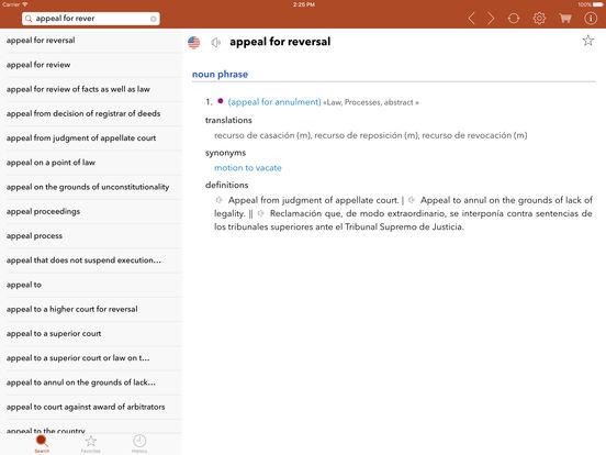 English-Spanish Legal Dictionary iPad Screenshot 5