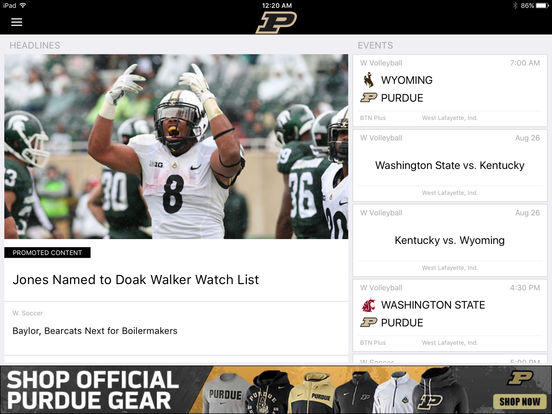 Purdue Sports iPad Screenshot 2