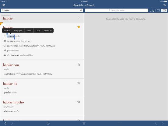Diccionario de Traducción Español-Francés de Ultralingua iPad Screenshot 1