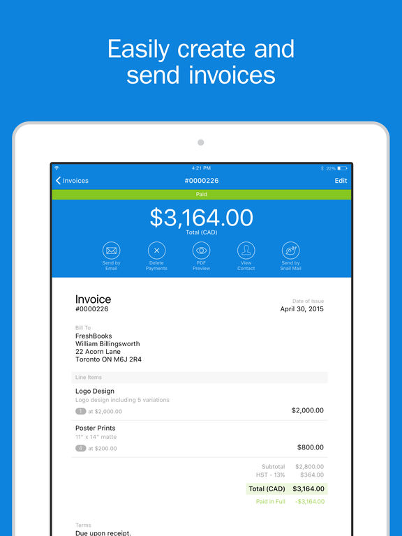FreshBooks Cloud Accounting - Invoice Clients & Manage Expense Receipts screenshot