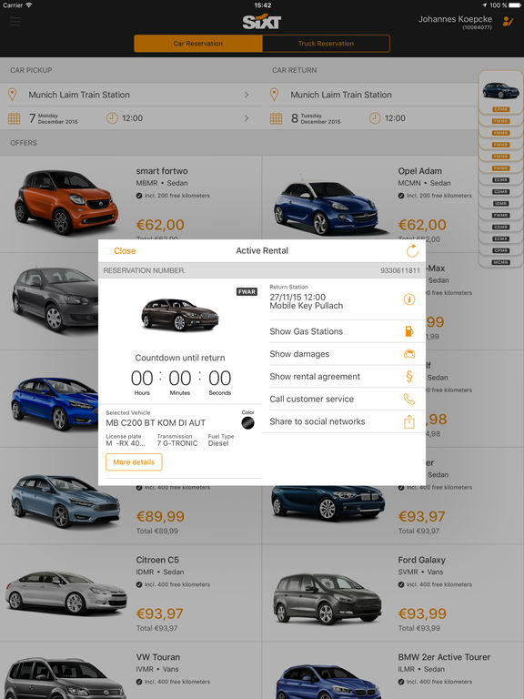 Sixt rent a car screenshot