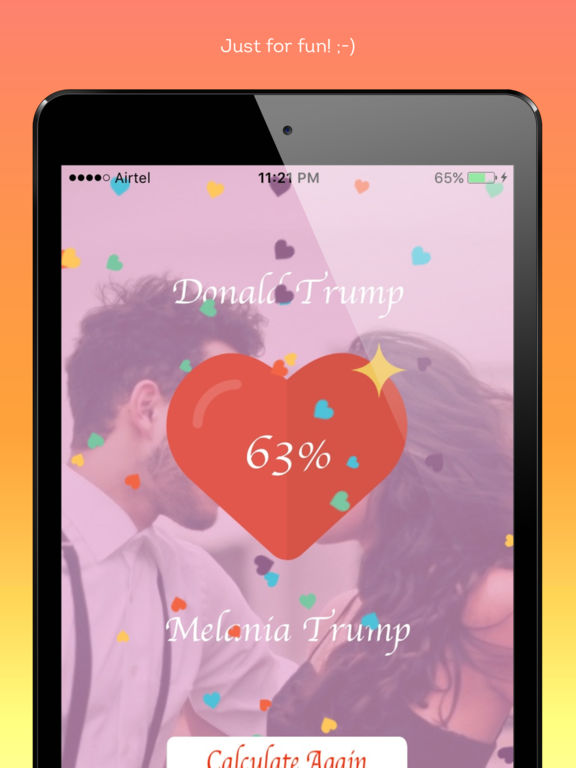 find your love percentage facebook apps Happy valentine's dayare you in love or want to share your special feeling on this valentines day with someone then first check your love percentage using this real love meter.