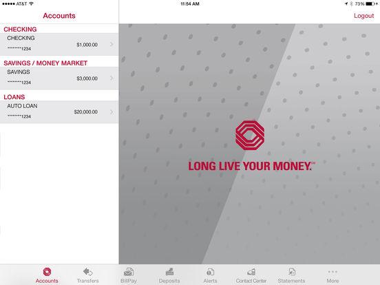 Bank of Texas Mobile Banking iPad Screenshot 1