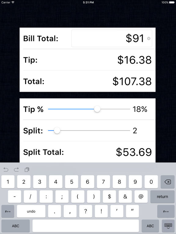 Tip Calculator % Free - Fast Tips & Split Bills at the Restaurant Table for Food, Dining, Drinks, and Dating screenshot