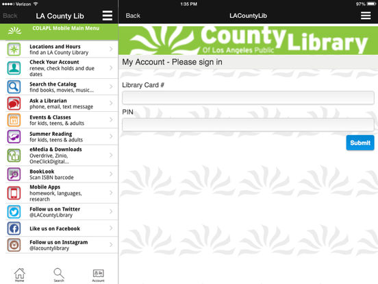LACountyLib iPad Screenshot 1