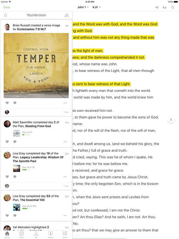 Screenshots of Bible for iPad