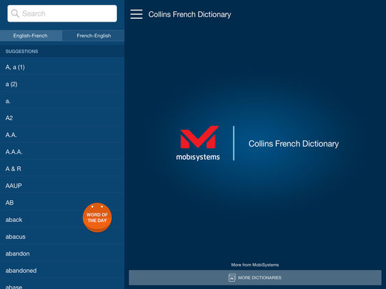 Collins French Dictionary iPad Screenshot 1