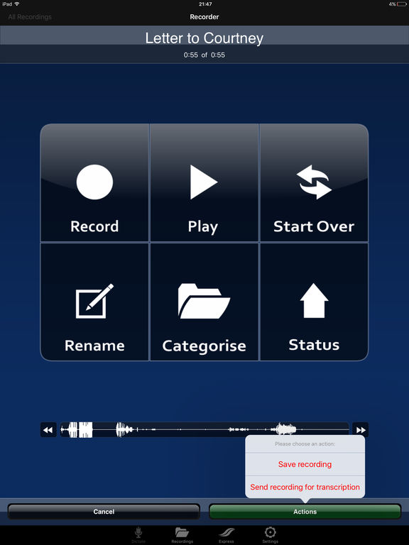 dictate2us: Voice Recorder - Transcription Service screenshot