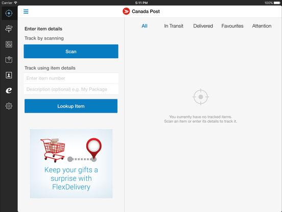 Canada Post iPad Screenshot 1