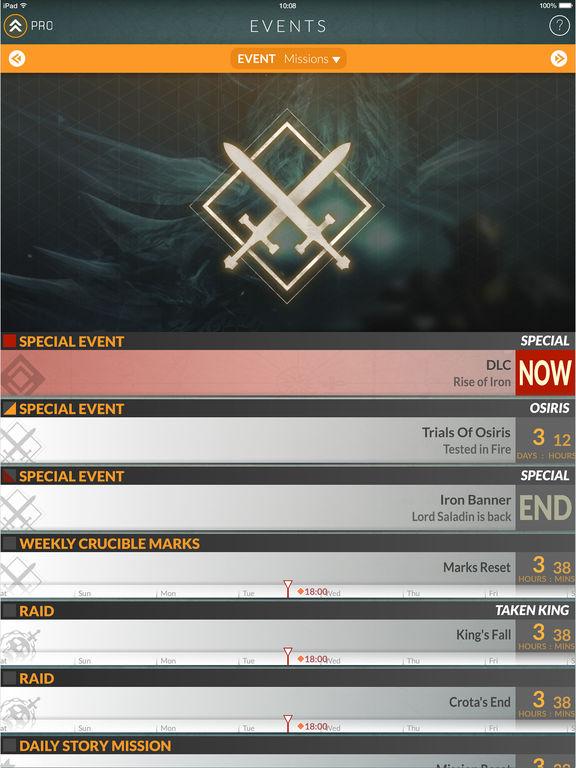 Events for Destiny Track Public Events Timers Screenshot