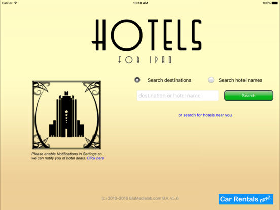 Hotels for iPad iPad Screenshot 1