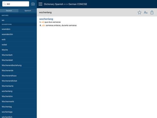 PONS Compact Dictionary Spanish <> German iPad Screenshot 2
